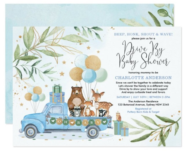 Drive By Baby Shower Invitation Templates