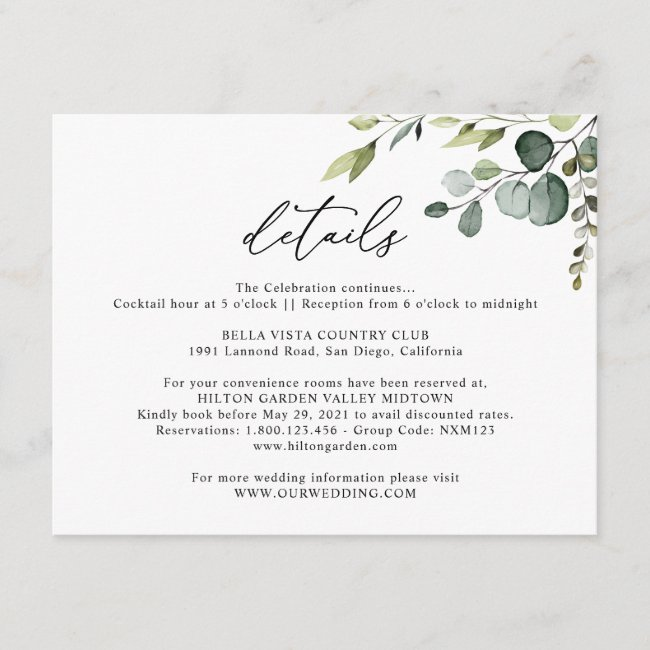 Personalized Wedding Enclosure Cards