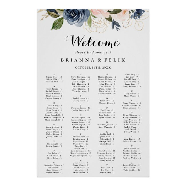 Conifer Trees Seating Chart Conifer Trees Wedding #WS14 Digital file Wedding Seating Chart Floral Wedding Table Plan PERSONALIZED