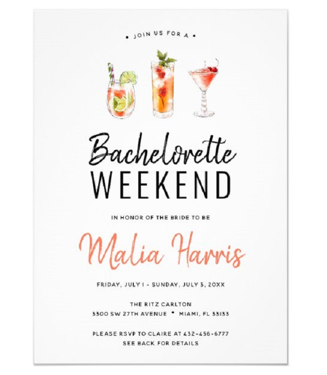 Weekend Bachelorette Party Invitations