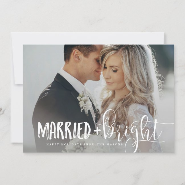 Married Christmas Newlywed Photo Holiday Cards