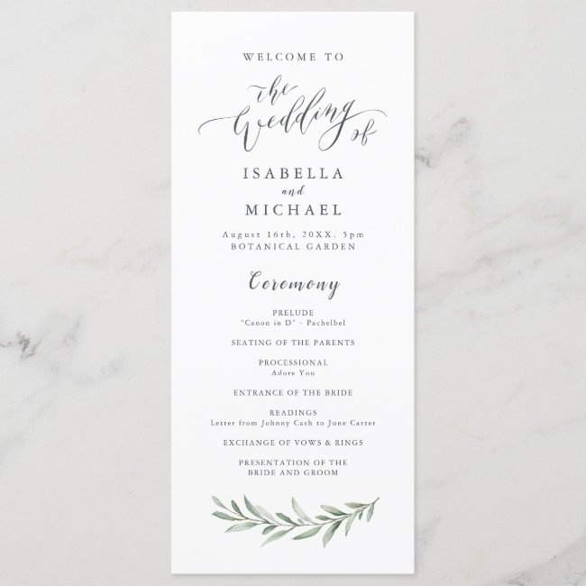 Personalized Wedding Program Cards
